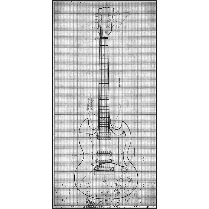 Ptm guitar blueprint ii framed graphic art reviews wayfair guitar blueprint ii framed graphic art malvernweather Images