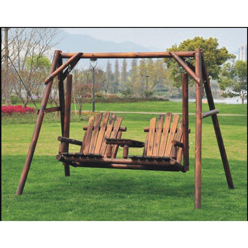 Millwood Pines Lepley Outdoor Adirondack Chair 2 Seat Freestanding Log Porch Swing Wayfair