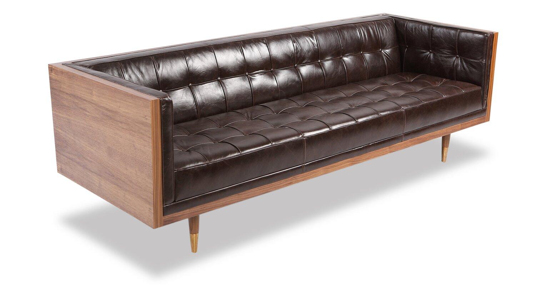 Carey Mid Century Modern Box Leather Sofa Reviews Allmodern ~ Modern Leather Sofa Brown