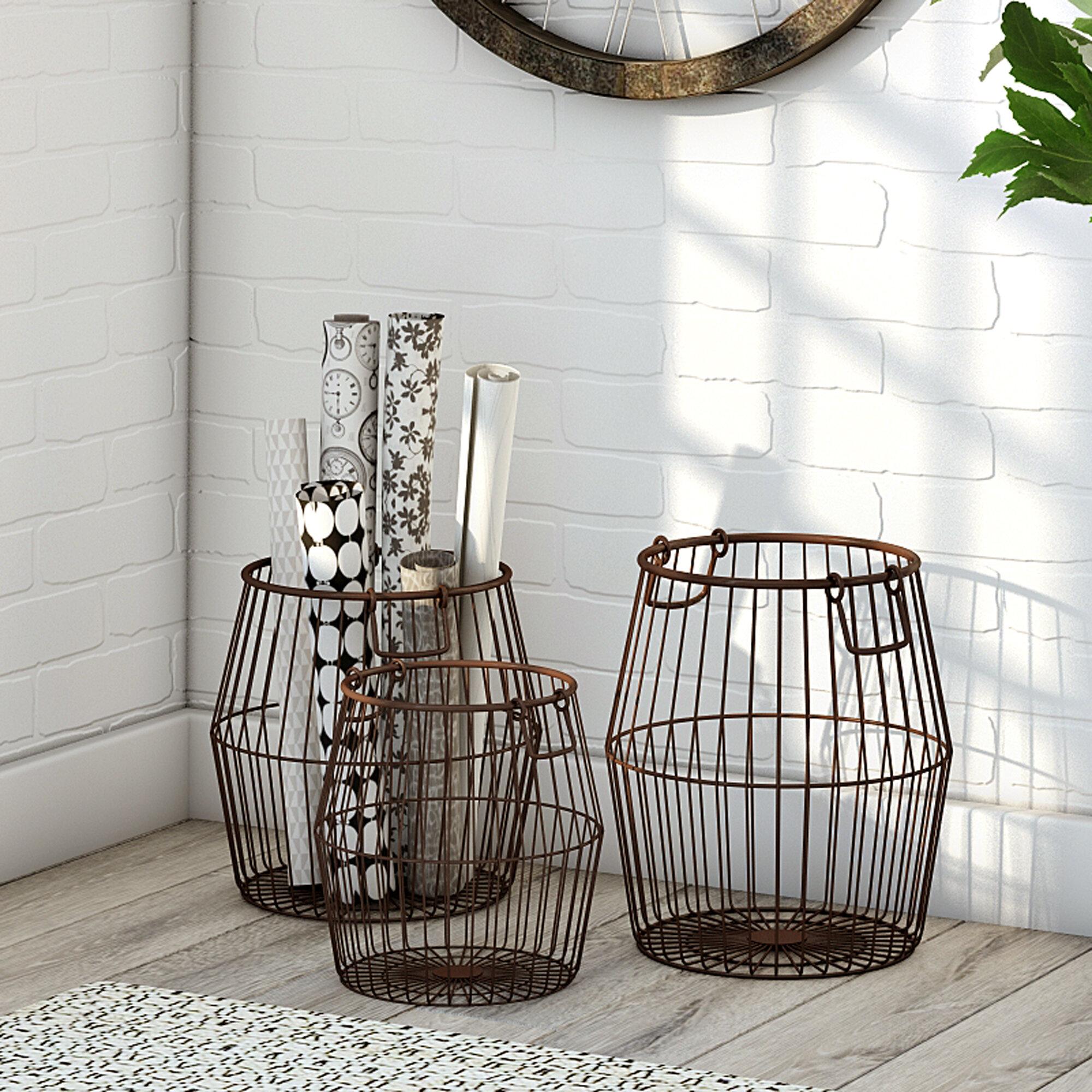 Gracie Metal 3 Piece Basket Set