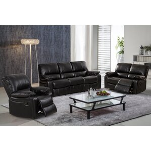 Living In Style Layla 3 Piece Leather Living Room Set