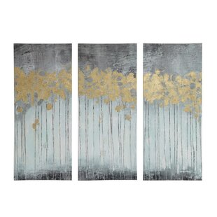 U0027Evening Forestu0027 3 Piece Painting Print Set On Wrapped Canvas