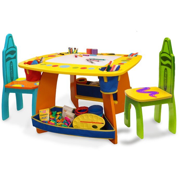 Grow \'n Up Crayola Wooden Kids 3 Piece Table and Chair Set ...