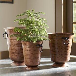Copper planters wayfair 3 piece hammered copper pot planter set workwithnaturefo