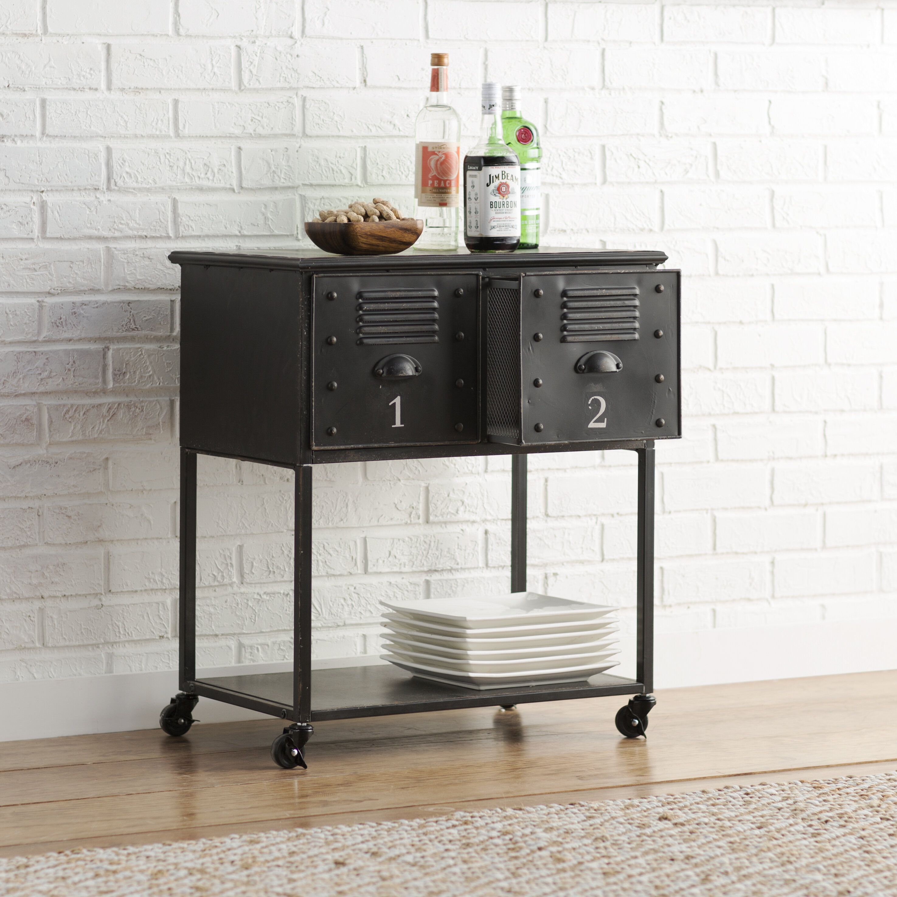 trent austin design alastor rolling cart table with 2 drawers