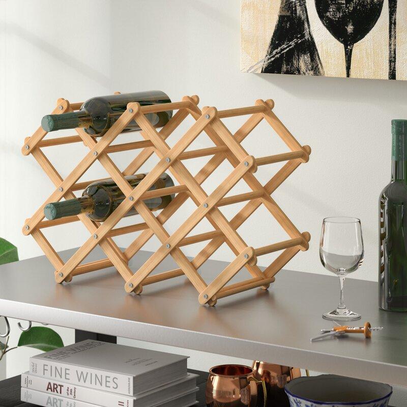 Morrissey Bamboo 10 Bottle Tabletop Wine Bottle Rack