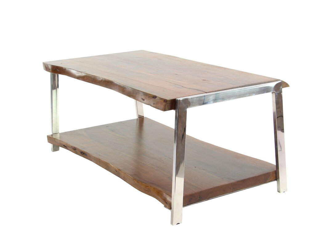 Great Althea Rustic Wood And Stainless Steel Coffee Table With Magazine Rack