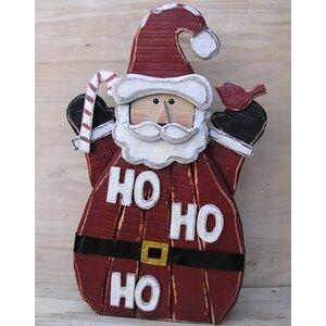 Wooden Santa Ho Ho Ho Oversized Figurine