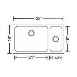 """Spex 32"""" x 18"""" Bowl Undermount Kitchen Sink"""