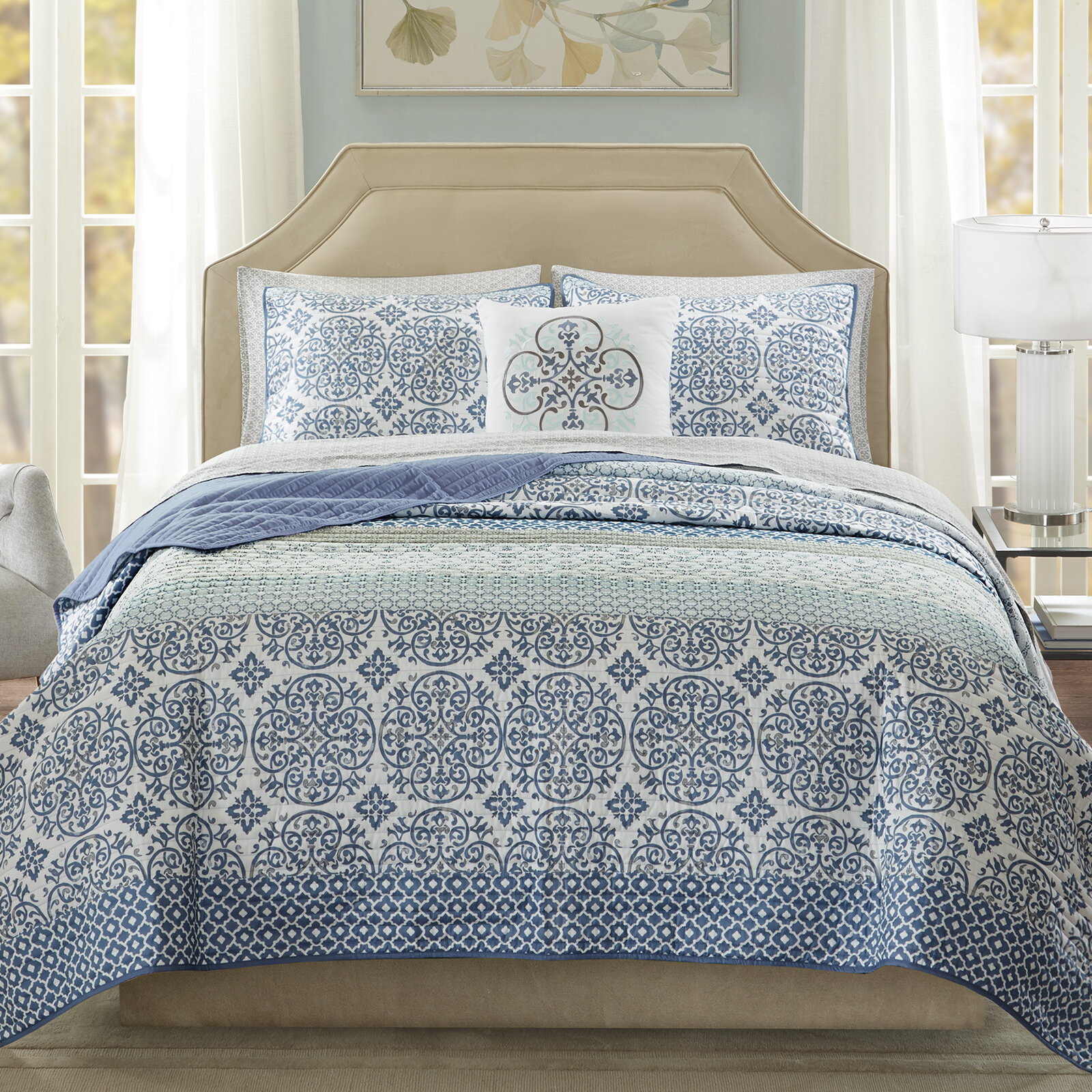 Alcott Hill Wedgewood Complete Coverlet and Cotton Sheet Set ...
