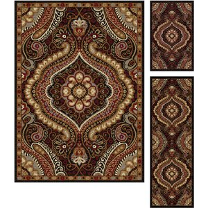 Hargrove 3 Piece Brown/Red Area Rug Set