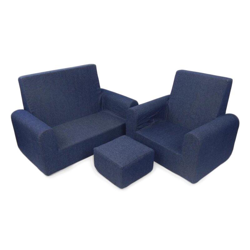 3 Piece Kids Sofa Chair And Ottoman Set