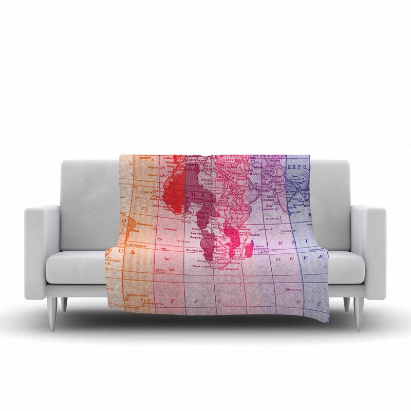 East urban home rainbow world map by catherine holcombe fleece throw rainbow world map by catherine holcombe fleece throw blanket gumiabroncs Images