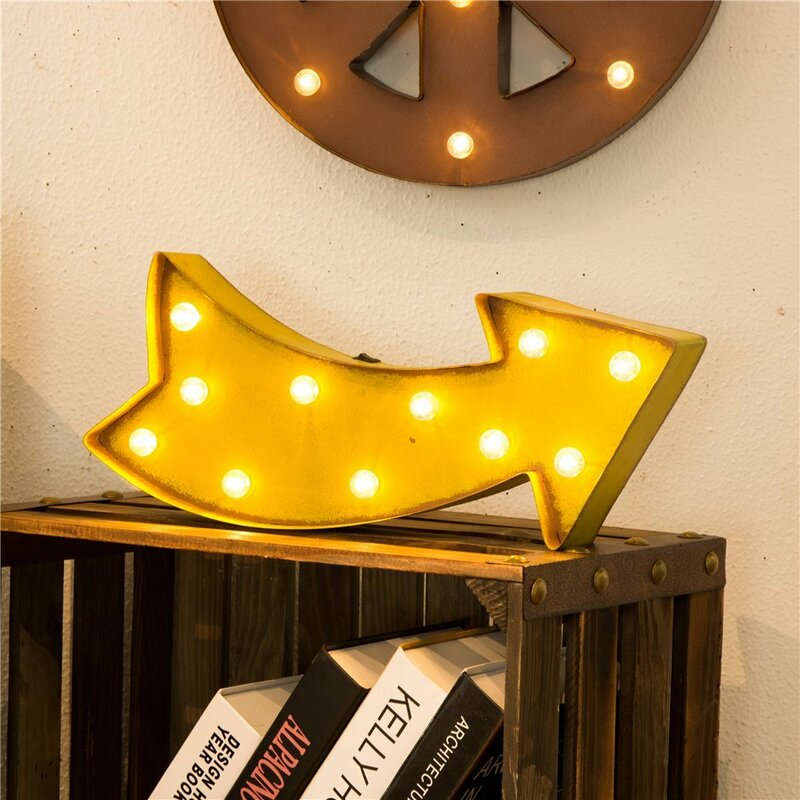 Glitzhome Marquee LED Lighted Arrow Sign Wall Décor & Reviews | Wayfair