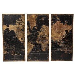 Stanford World Map 3 Piece Graphic Art Set