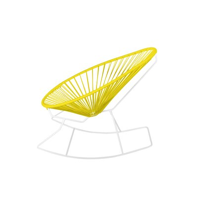 Brayden Studio Marvine Rocking Chair Color: Yellow/White