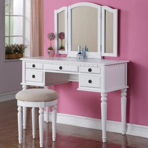 Bedroom  Makeup Vanity Sets Youll Love Wayfair - Mirrored makeup vanity set