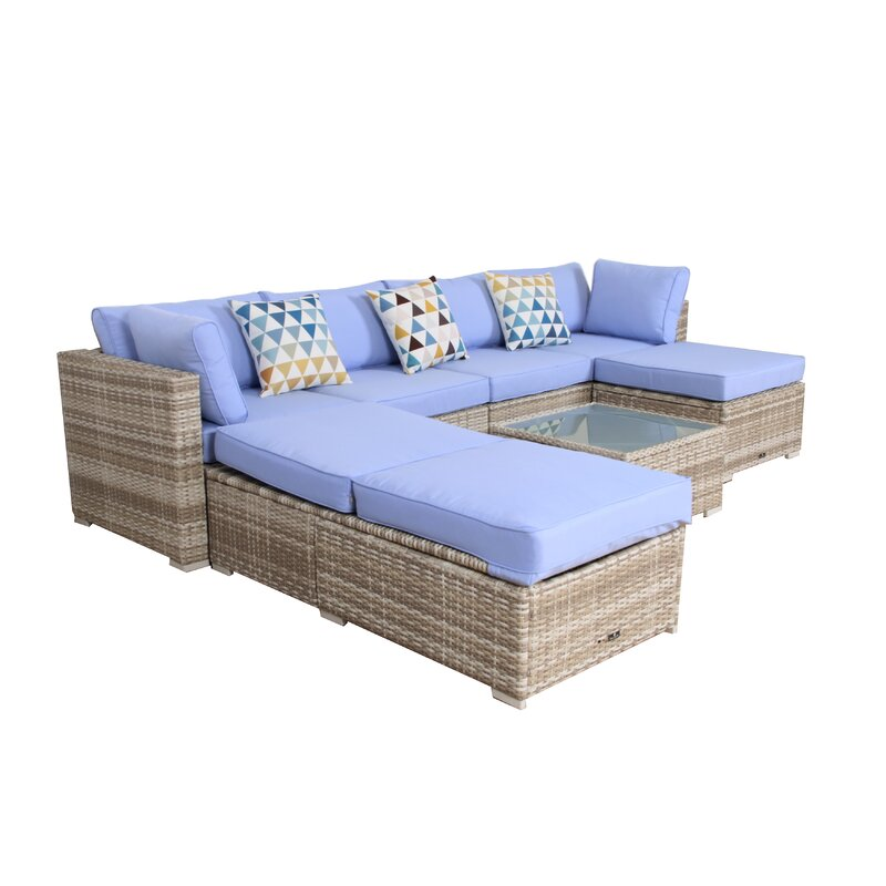 - Broyerk 7 Piece Rattan Sectional Set With Cushions Wayfair