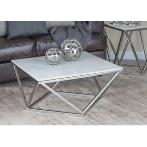 Stainless Steel/Marble Square Coffee Table by Cole & Grey