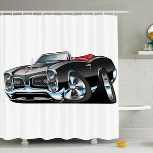 Myaa Nostalgic Sports Car Shower Curtain Set