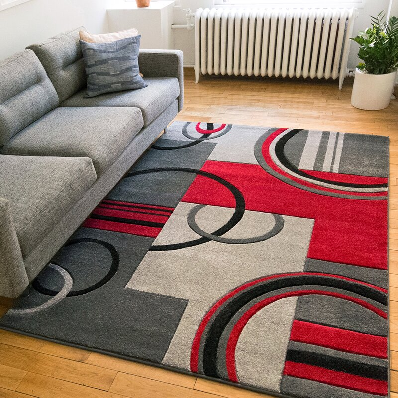 Well Woven Ruby Modern Galaxy Waves Grey Red Area Rug