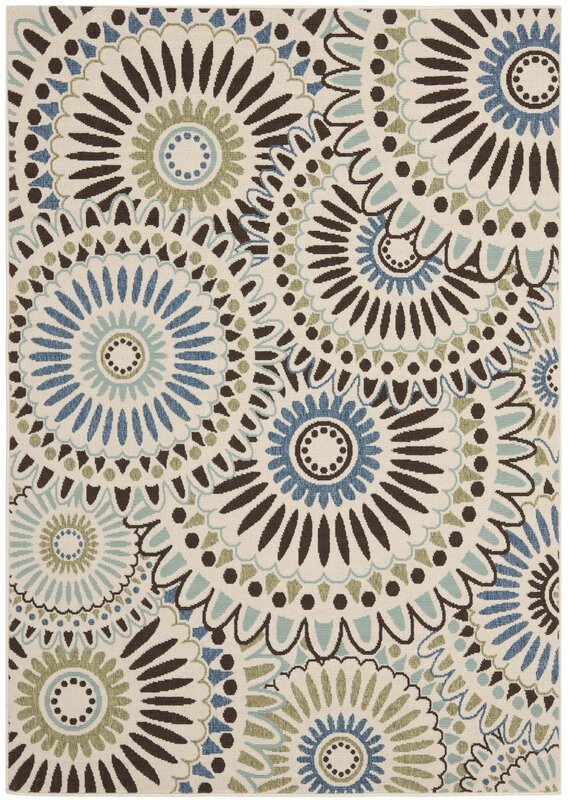 Andover Mills Tierney Cream/Blue Indoor/Outdoor Area Rug & Reviews ...