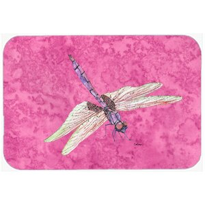 Dragonfly on Pink Kitchen/Bath Mat