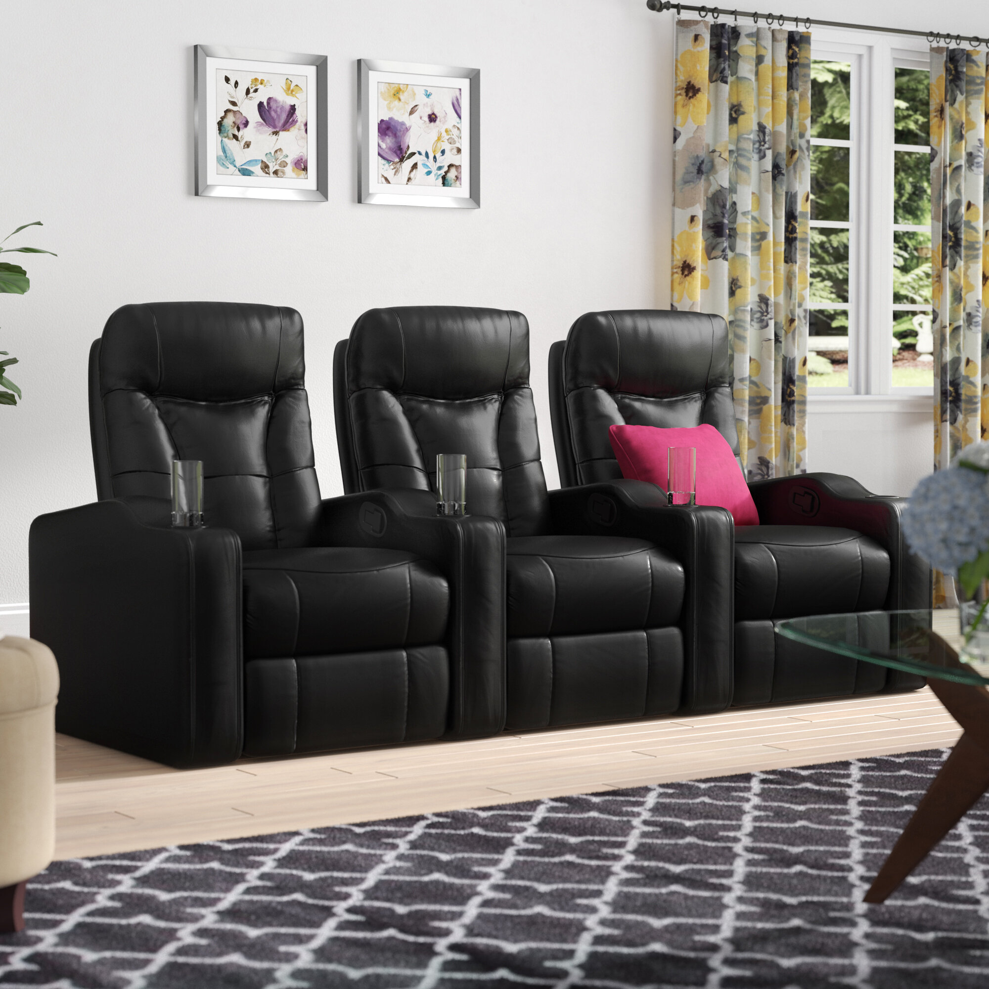 Gel Reclining Leather Home Theater Sofa