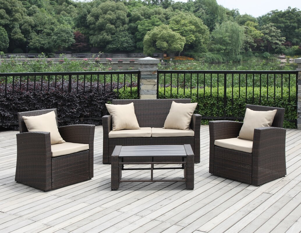 Captivating La Jolla 4 Piece Deep Seating Group With Cushions