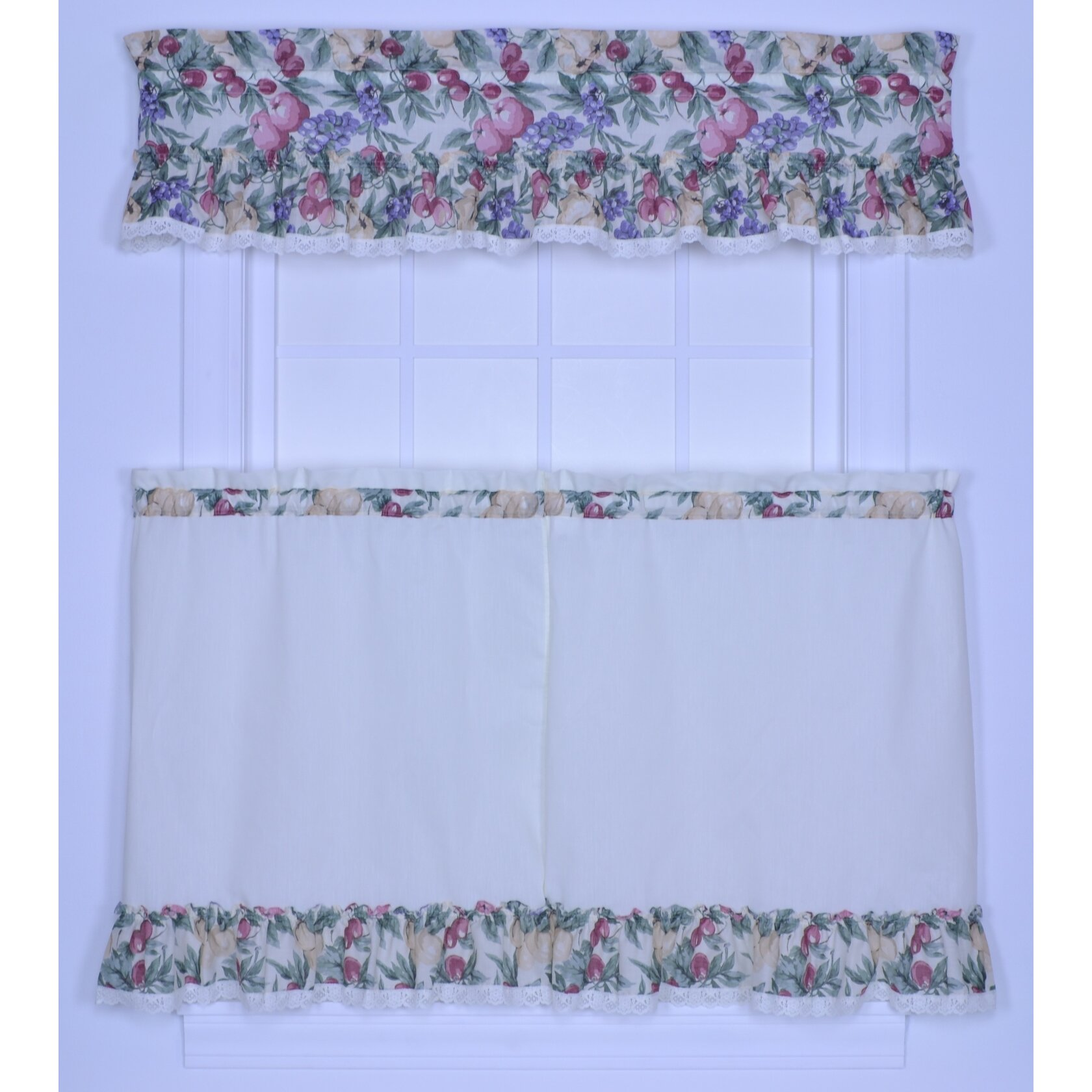 Ellis Curtain Kitchen Harvest Fruit Rod Pocket Ruffled 52
