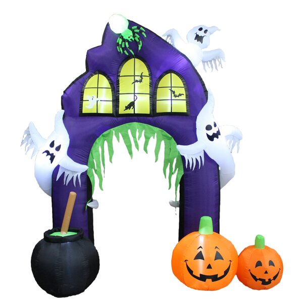the holiday aisle halloween inflatable castle arch with pumpkin and ghost u0026 reviews wayfair
