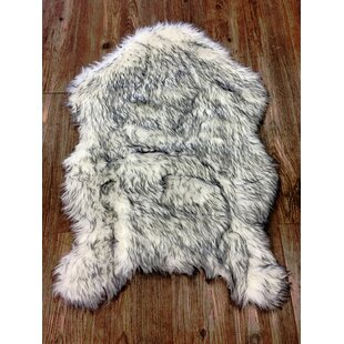 Mallon Novelty Faux Fur White Gray Area Rug