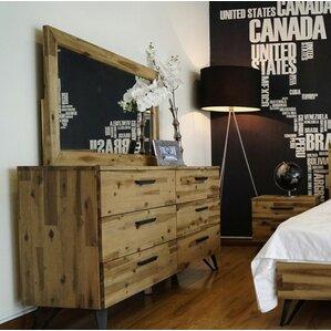 Rashida Light Wood 6 Drawer Dresser with Mirror by Union Rustic