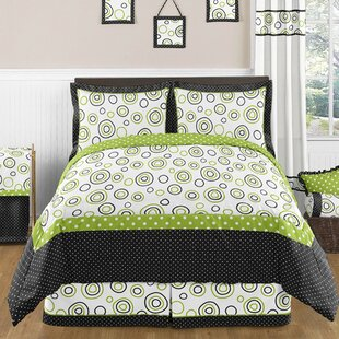 Lime And Black Spirodot 3 Piece Comforter Set