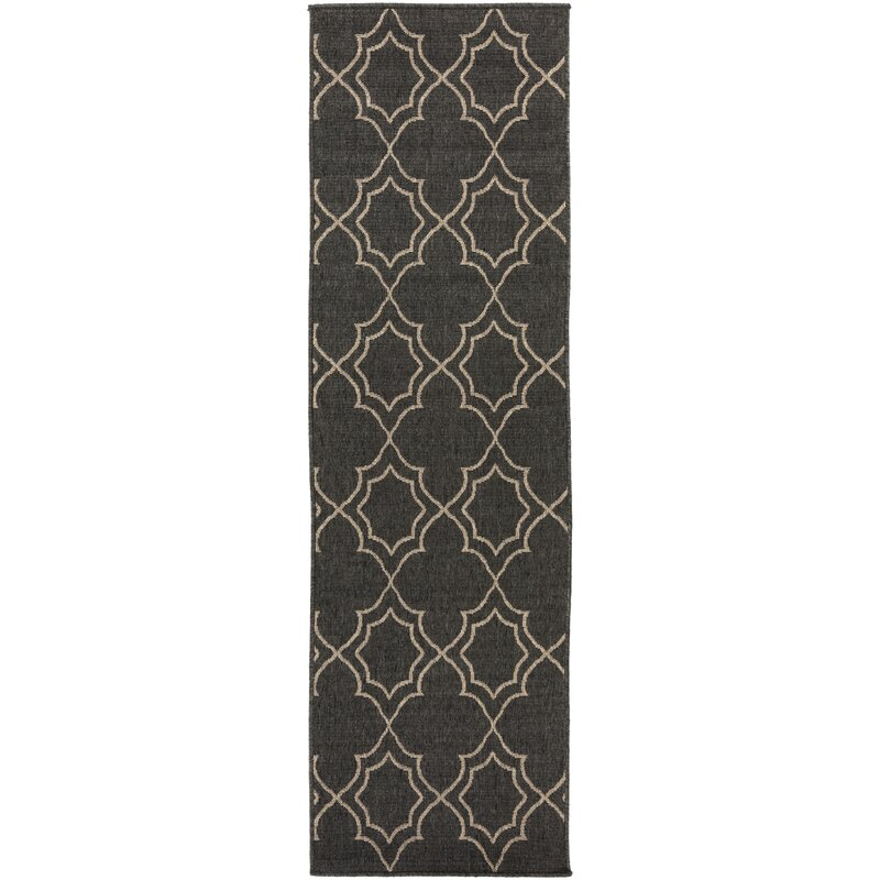 Alcott Hill Amato Power Loomed Black/Camel Indoor/Outdoor Area Rug, Size: Runner 23 x 119