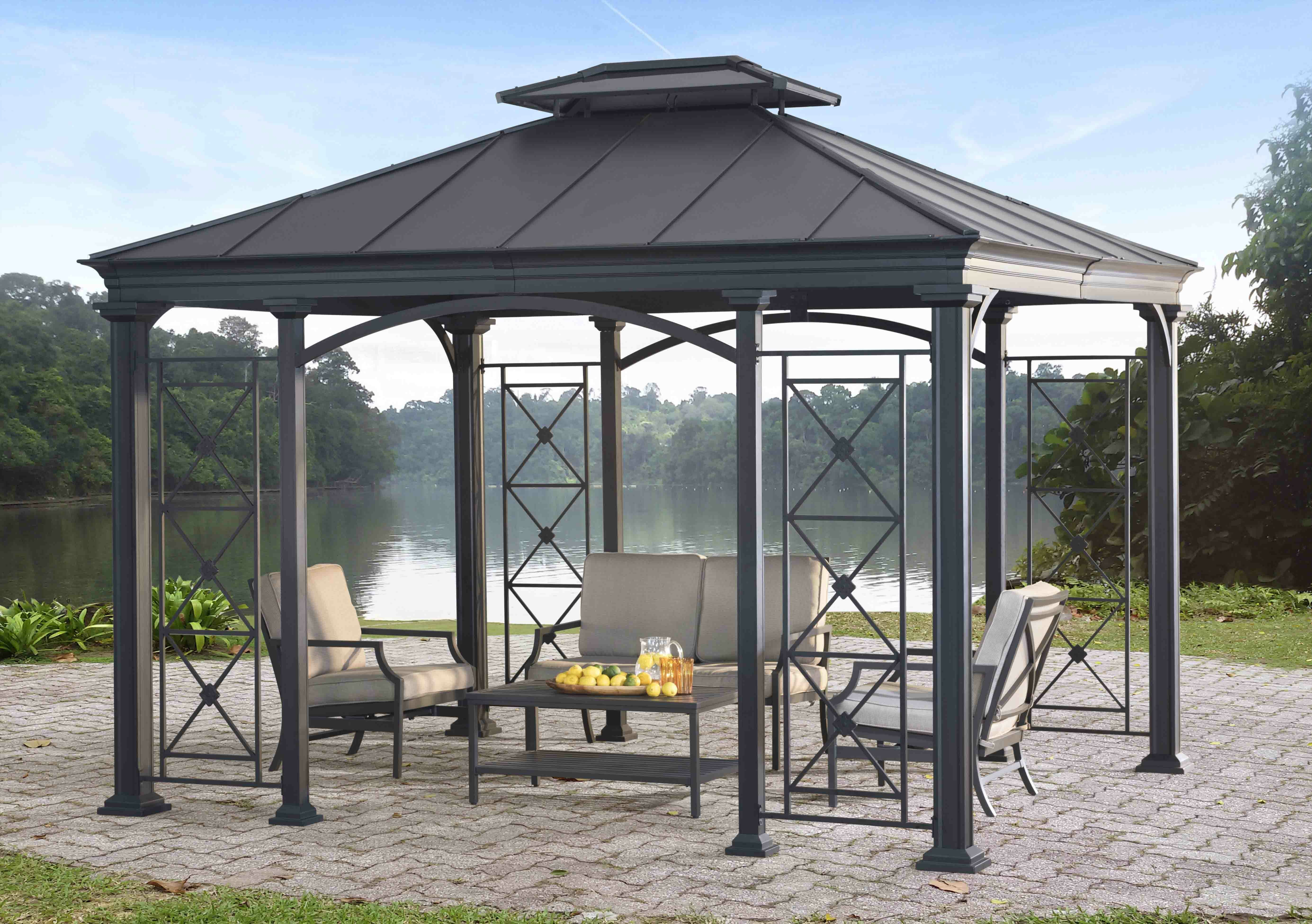 and to patio with curtain friends relax family gazebo ideas