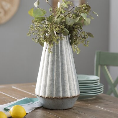 Gracie Oaks Kazell Galvanized Metal Table Vase Wayfair