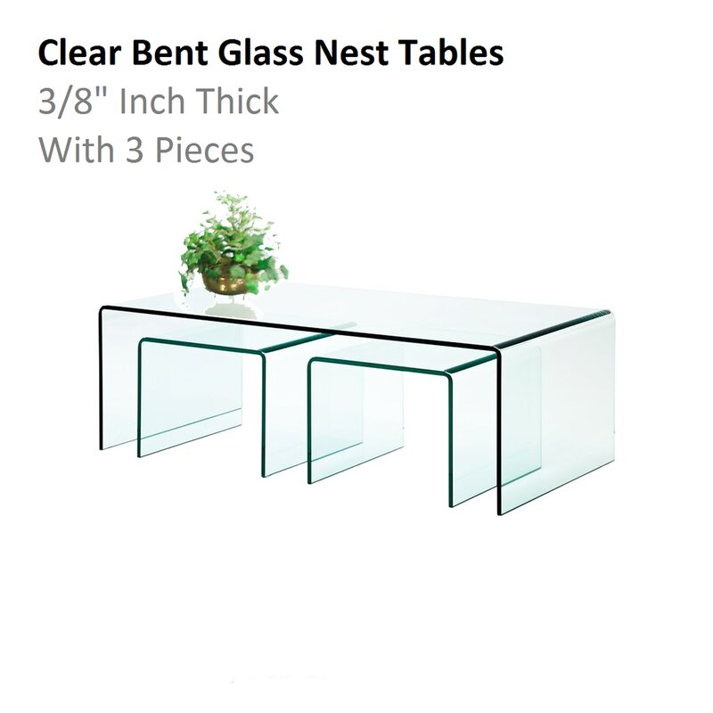 Fab glass and mirror 3 piece clear bent glass nesting tables wayfair 3 piece clear bent glass nesting tables watchthetrailerfo