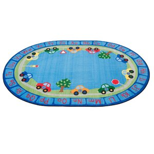 All Around Cars Alphabet Blue Area Rug