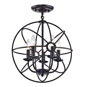 Dover Sphere Cage Globe 5-Light Semi Flush Mount