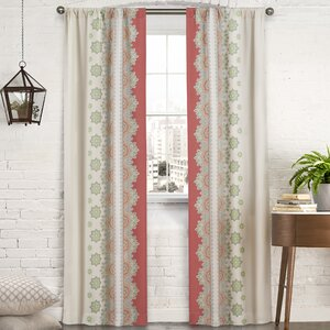 Mantra Floral/Flower Semi-Sheer Thermal Rod Pocket Curtain Panels (Set of 2)