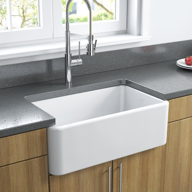 LAT/R3018W 30  L x 18  W Fireclay Farmhouse Reversible Kitchen Sink & LaToscana 30