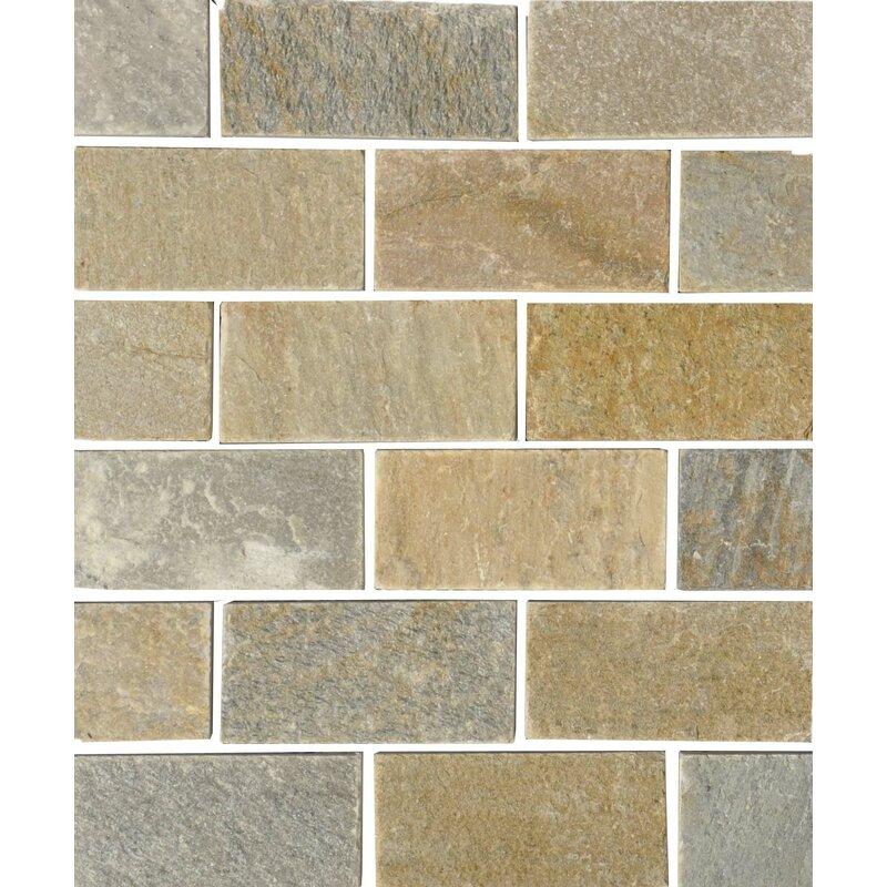 The Bella Collection Century 2 X 4 Quartzite Stone Subway Tile In