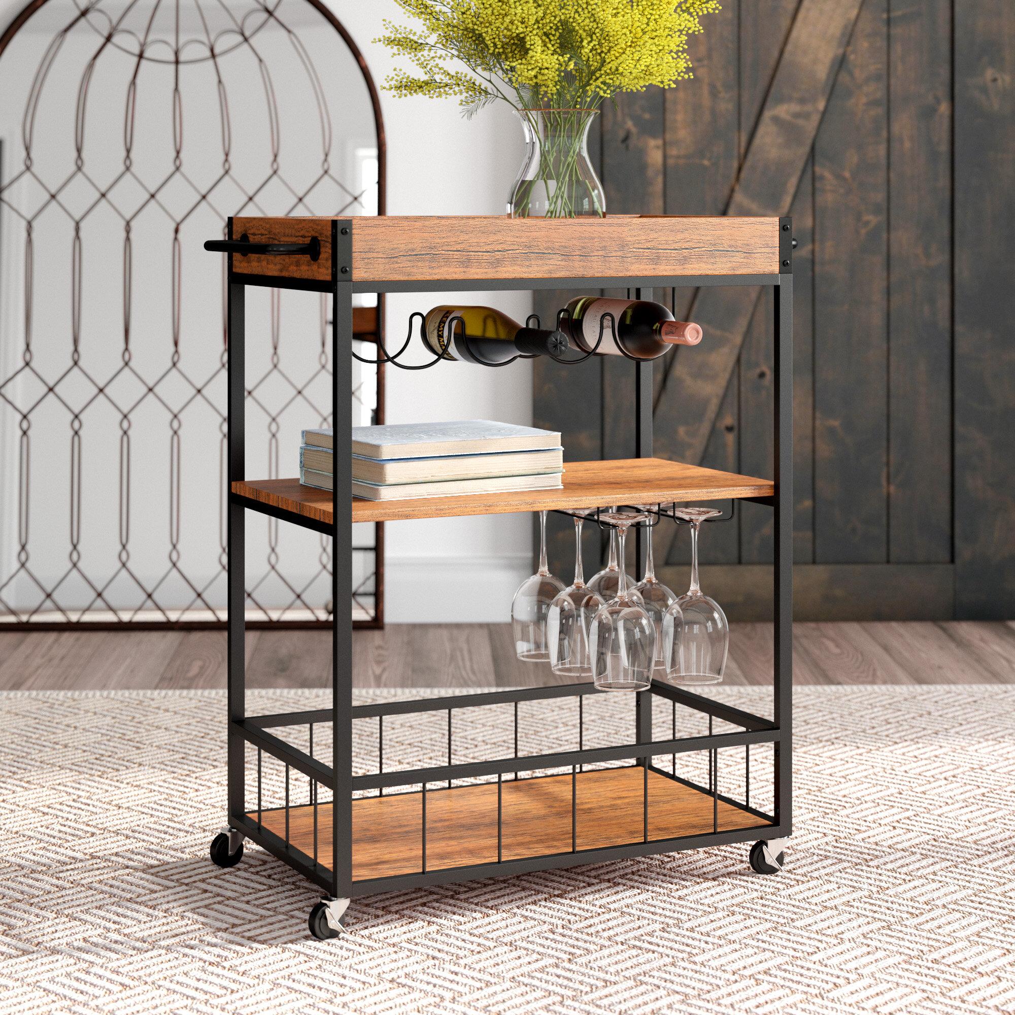 Gracie oaks castellon rustic industrial bar cart reviews wayfair