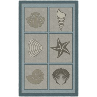 Howell Muted Beach Squares Seashell Blue Brown Area Rug