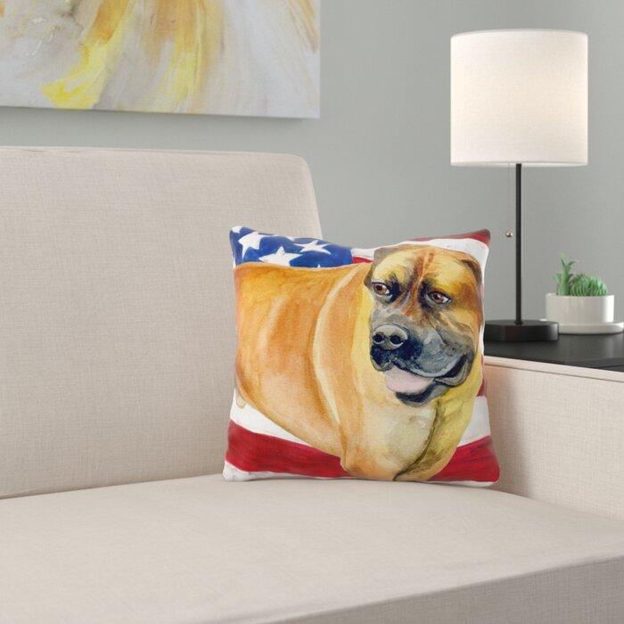 Boerboel Mastiff Patriotic Indoor/Outdoor Throw Pillow