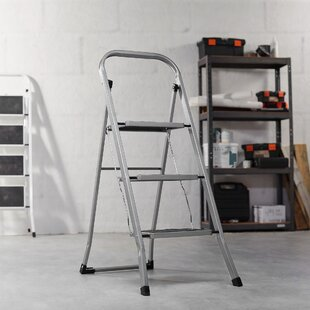 Folding Portable 3 Step Steel Stool With 330lbs Capacity