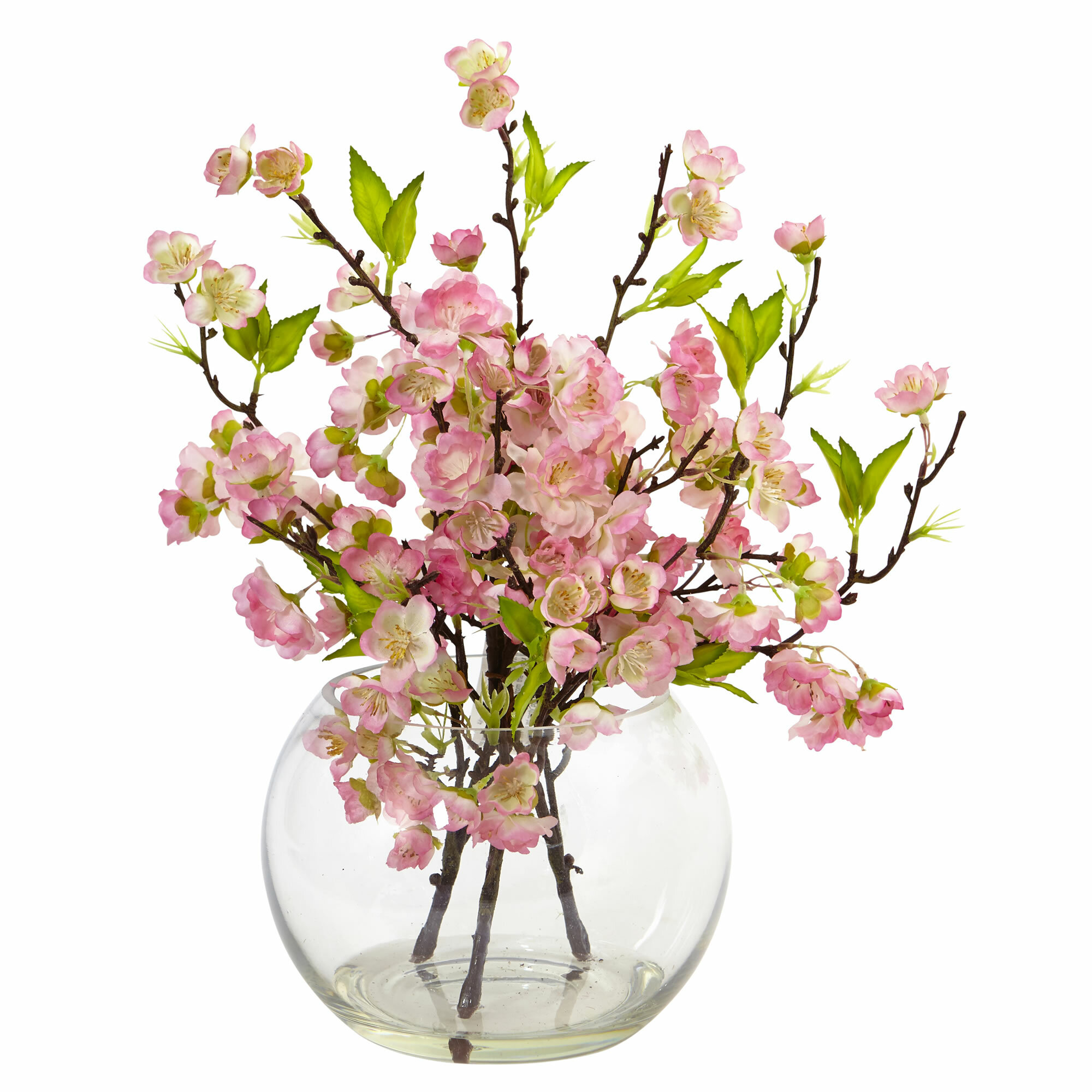 Nearly Natural Cherry Blossom Floral Arrangement In Decorative Vase