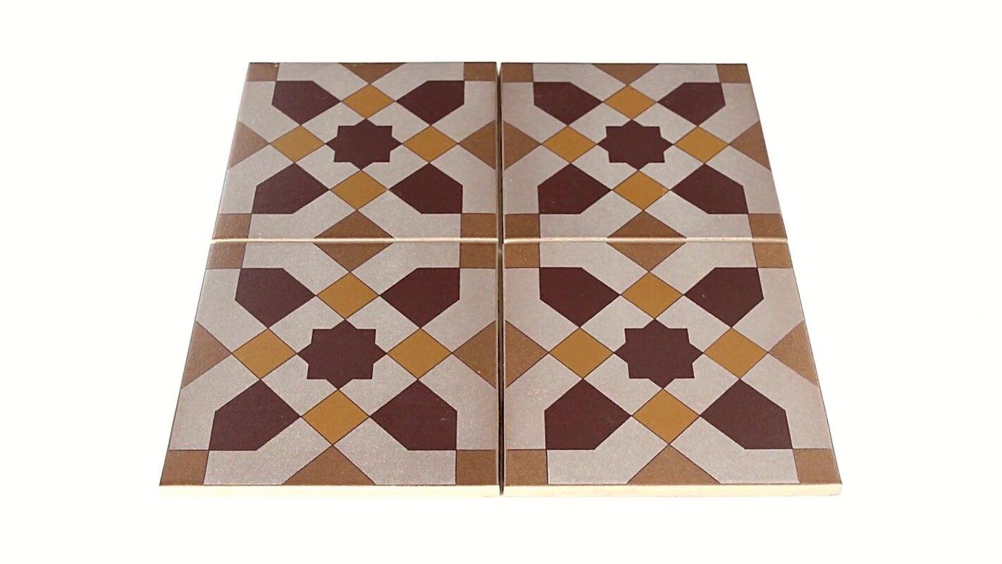 Elitetile cementa 7 x 7 ceramic tile in burgundygoldtan cementa 7 x 7 ceramic tile in dailygadgetfo Choice Image