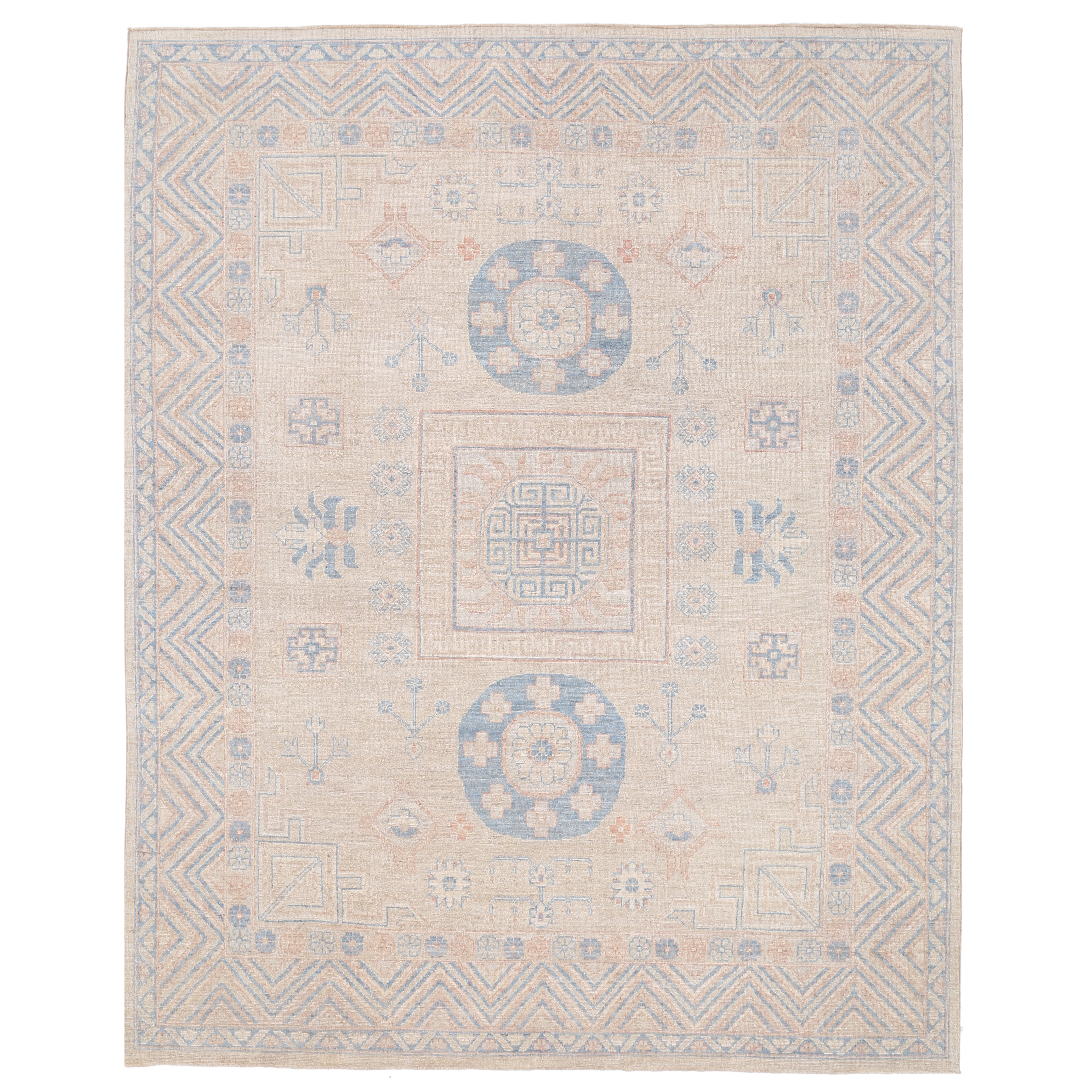 Vegetable Dyed Hand Knotted Floral Oushak Ivory Persian: Herat Oriental Vegetable Dye Hand-Knotted Ivory / Blue